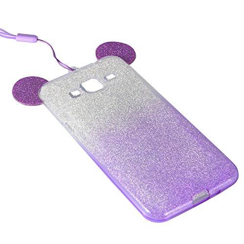 Coque Samsung Galaxy J3 (2015 Version) Etui,Vandot Ultra Mince Housse Samsung Galaxy J3 (2015 Version) Silicone Transparent Case pour Samsung Galaxy J3 (2015 Version) Coque de Protection en TPU avec A Oreilles-Pourpre