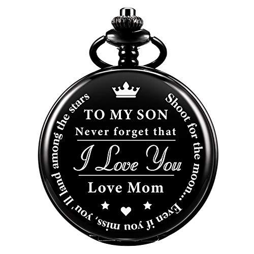 Taschenuhr - Vergiss das nie, ich Liebe Dich, Liebe Mutter - von Einer Mutter zu einem Sohn Geschenk Quarz Taschenuhr Schwarz