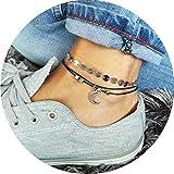 Simsly Beach Moon Armband Fußkettchen Perlen Gewebt Fuß Kette Zubehör Schmuck für Frauen und Mädchen (Silber) jl-072