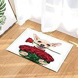 gohebe Valentinstag Hochzeit Bad Teppiche Lovely Chihuahua Hund mit Rose in weiß rutschfeste Fußmatte Boden Eingänge Innen vorne Fußmatte Kinder Badematte 39,9x 59,9cm Badezimmer Zubehör