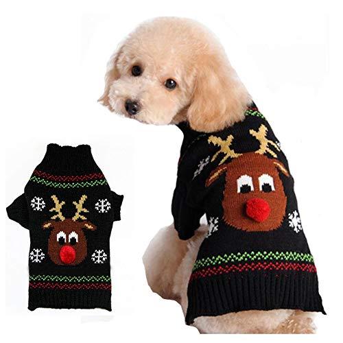 Suéter para Perros Ropa para Perros Ropa para Mascotas Sudadera de Invierno Cachorro Disfraz Lindo Ciervo Regalo de Navidad Llevar Nariz