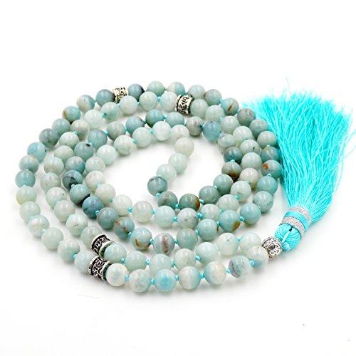 Gemstone collana di perline mala, mala braccialetto, mala rosario collana, annodati collana/bracciale (amazzonite)