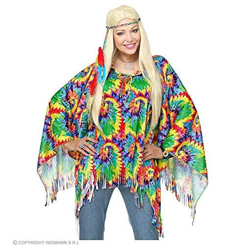 Lively Moments Kostüm Zubehör Poncho mit Haarband für Hippie´s / 60er Jahre Überwurf Regenbogen / Psychedelic Flower Power
