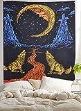 Weinen Wolf Of The Moon Wandteppich, Wandbehang, Bohemian Bed Sheet, Ethnic ...