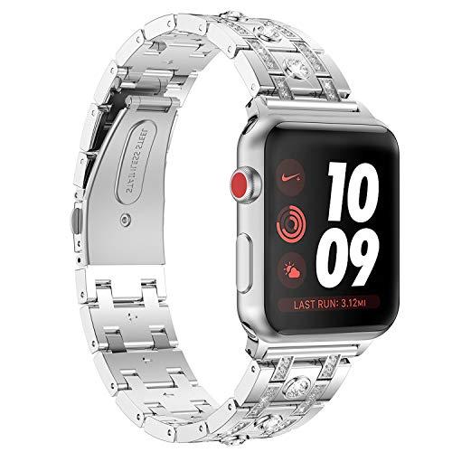 Nike Sport-uhren Frauen (Bands für Apple Watch 38mm 40mm,Silber Damen Edelstahl Sport Uhr Armband für iWatch Series 4 40mm,Metall Bling Armbänder für Series 3 2 1 38mm Edition Nike+)
