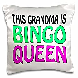 3dRose This Grandma Is Bingo Queen, Hot Pink, Lime Green, - pillow Case, 16 by 16-Inch (pc_149771_1)