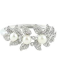 TENYE Pulsera de cuentas de cristal austriaco con perlas de imitación para novia, diseño de hojas de flores, color plateado claro