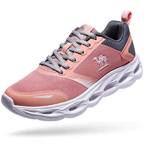 CAMEL CROWN Damen Laufschuhe Atmungsaktiv Traillaufschuhe Fitnessschuhe Stoßfest Sportschuhe Schnüren Wanderschuhe für Sportarten Rosa 3.5UK=37EU