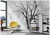 Chlwx 3D-Wandbilder Tapeten Benutzerdefinierte Bild Wandbild Landschaft Schwarz-Weiß Stil Elk Einfache Nordic Abstrakten Baum Im Hintergrund An Der Wand 200Cmx150Cm
