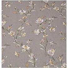 Zambaiti pintado–papel pintado de Country Shabby Vintage de vinilo efecto tela satinado con flores a relieve Ocre y glicinas sobre fondo Fango Z4105Satin Flowers