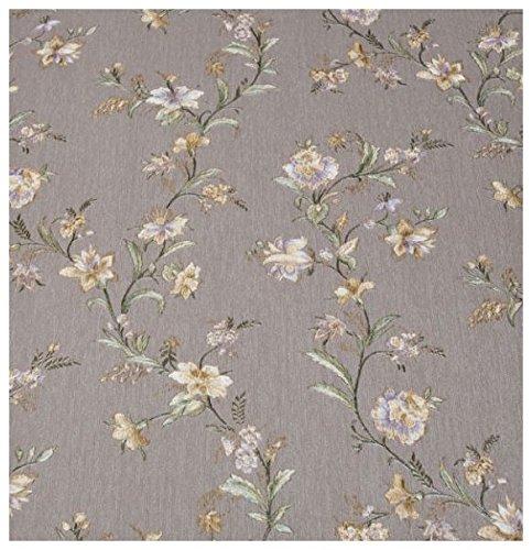 Zambaiti Tapete–Tapete Country Shabby Vintage in Vinyl Effekt Stoff Satin mit Blumen, Prägedruck ocker und Distel auf Boden Schlamm Z4105Satin Flowers
