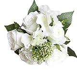 Longra Wohnaccessoires & Deko Künstliche Kunstblumen 1 Bouquet 8 Blume Künstliche Rose Gefälschte Seide Blume Blatt Braut für Hochzeit, Party, Blumenstrauß und Heimdeko Blumendekoration (B)