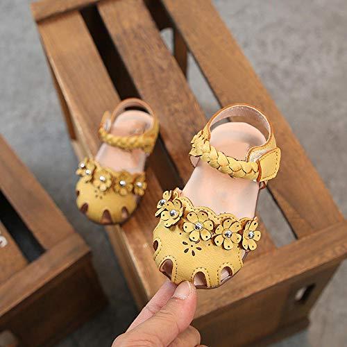 Sandalen ohne Riemen,Mädchen Sandalen,Prinzessin Baby Klettverschluss bestickt 1-3 Jahre alten weichen Boden Baotou Strandschuhe,yellow,16.1cmBadesandale für den Innenbereich im Freien,Das beste - Bestickte Wildleder Baby-stiefel