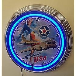 Neon reloj–Pinup fabricado en Estados Unidos Airplane–Iluminación Neon Azul–También Disponible en otros colores Neon.