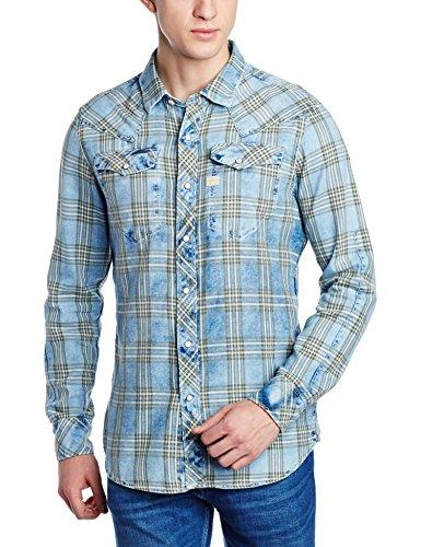 G-STAR RAW Tacoma Shirt l, Camicia Uomo, Blu (Indigo/Dk Bronze Green Check 6555), Large (Taglia Produttore: Large)