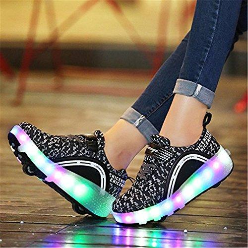 SGoodshoes Unisex Schuhe Mit Rollen Skateboard Kinderschuhe Led Farbwechsel Leuchtend Rad Sportschuhe Rollschuhe ohne USB für Mädchen Jungs Damen Herren Schwarz