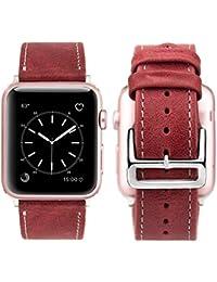 Apple Watch Series 3 Correa 38mm, iBazal Correa para Apple Watch 38mm Cuero Genuino Banda de Piel para 38mm Apple Watch Series 3/ Series 2/ Series 1 - Rojo Retro