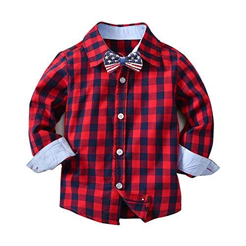 Zarupeng Baby Gitter Hemd Jungen Mädchen Langarm T-Shirts Gentleman Krawatte Tops Kinder Freizeithemd Kleidung