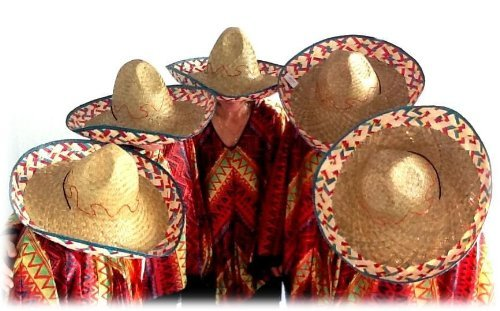 Sombrero-Set Mexikanerhüte in bunten Farben - 5er (Gras Mardi Hut)