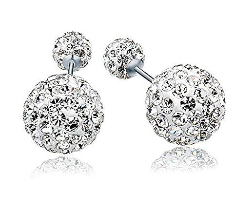ZPXLGW 925 Sterling Silber Rhinestone Double Diamond Full Ohr Ohrstecker,White-L