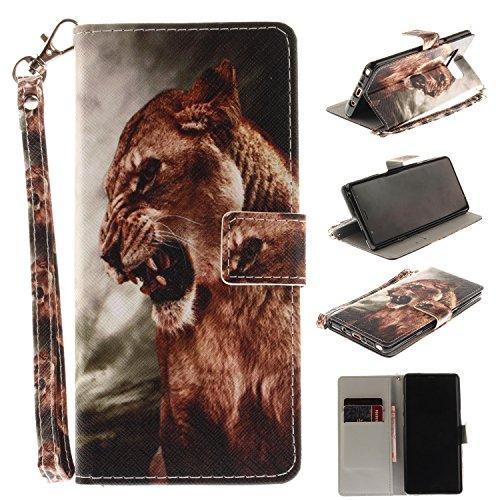 Ooboom® iPhone X Hülle Flip PU Leder Handy Tasche Case Cover Schutzhülle Wallet Ständer Karte Halter für iPhone X - Weiß Tiger Löwe
