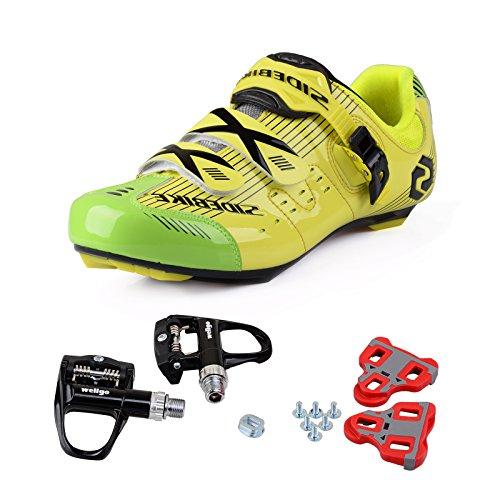 TXJ Rennradschuhe Fahrradschuhe Radsportschuhe mit Klickpedale SD-003 Gelb / Grün, pedale schwarz