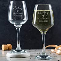 Hubby and Wifey Glasses - Personalised Wedding Gifts for Bride and Groom Couple - Engraved Wine Goblets Set of 2 with Stem