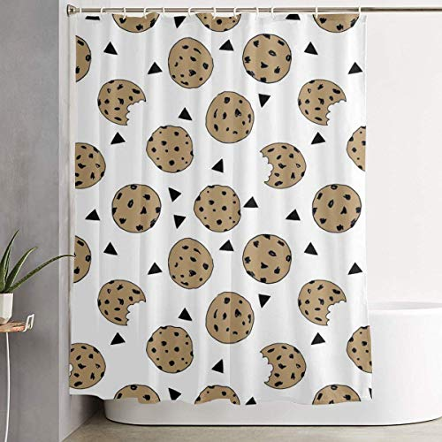DHDHG SHOP Duschvorhang Badezimmer Dekoration Decorative Water Repellant Shower Curtain 60x70 Comes with 12 Hooks (Cookies Food Chocolate Chip Biscuits) -