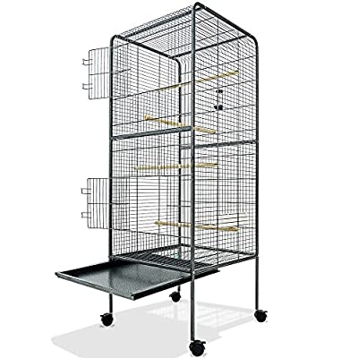"""Large Bird Cage Metal Aviary XXL on Wheels 4ft10"""" Birds House Silver Anthracite 146cm Parrot Macaw"""
