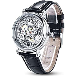 Time100 Skeleton Apparent Space Automatical Plated Alloy Silver Case Genuine Leather Strap Mechanical Couple Wrist Watches (For Ladies) #W60026L.01A