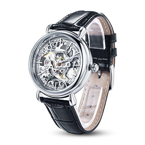 TIME100 Damenuhr mechenische Skelett Uhr Automatik Leder Schwarz Silber #W60026L.01A