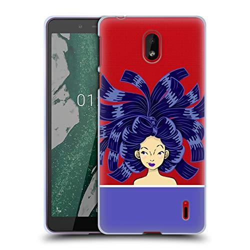 Head Case Designs Offizielle Grace Illustration Blau Haar Styles Soft Gel Huelle kompatibel mit Nokia 1 Plus