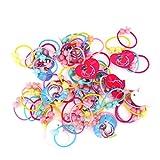 Lot de 50pcs Bande de Cheveux Elastique Multicolore - Perles de Lapins