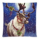 The Beautiful Christmas Reindeer Throw Pillow Pillow Case Cover Two Sides Printed 18x18 Inches