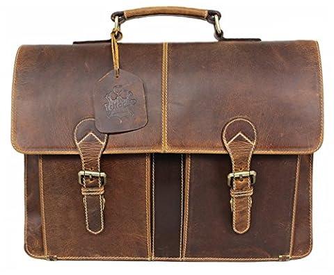 TRIFOGLIO Damen Herren Echt-Leder Tasche Aktentasche Arbeitstasche Notebooktasche Laptoptasche 15 16 17 Zoll Umhängetasche DIN A4 Büro aus echtem hochwertigem Leder braun Vintage PB09A