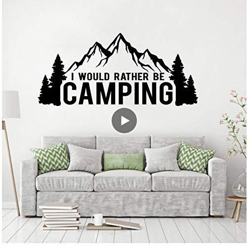 Etiqueta de la pared del coche etiqueta de la pared amante de camping Prefiero acampar oferta vinilo pintura de pared árboles de montaña pegatinas 57 * 26