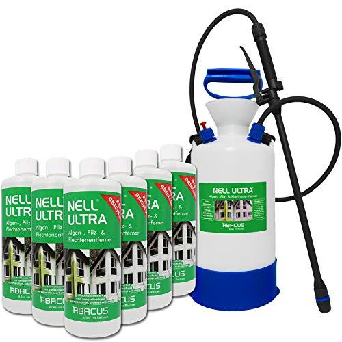 ABACUS Nell Ultra (6X 1000 ml + 6 Ltr Drucksprüher VITON - säurebeständig) Konzentrat - Algenentferner Flechtenentferner Grünbelagsentferner Moosentferner Algizid Algen-Ex Algenvernichter