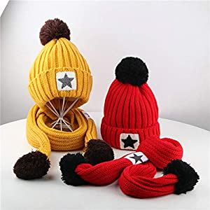 QinMM Infantil bebé Sombrero y Bufandas de Punto otoño Invierno niños niñas Beanie Gorras Conjunto 6