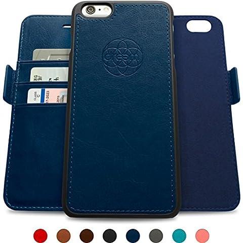 Coque + étui portefeuille magnétique Dreem Fibonacci pour iPhone 6 Plus, protection RFID, 2 positions possibles, en simili-cuir haut de gamme, dans un emballage cadeau - Bleu