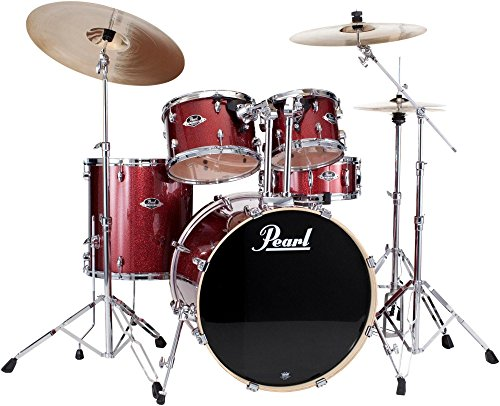 Pearl Export New Fusion 5-Piece Drum Set with Hardware Black Cherry Glitter (Black Cherry Glitter)