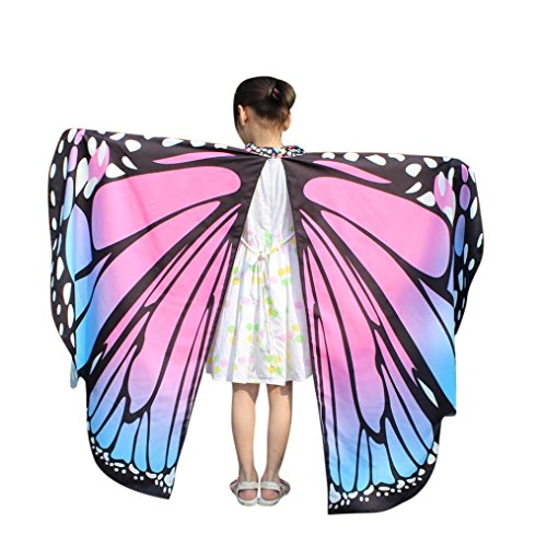 Btruely Schmetterling Kostüm Schal Frauen Weiche Gewebe Schmetterlings Flügel Schal feenhafte Damen Nymphe Pixie Halloween Cosplay Weihnachten Cosplay Kostüm Zusatz (136*108CM, - Halloween-kostüme Trikot