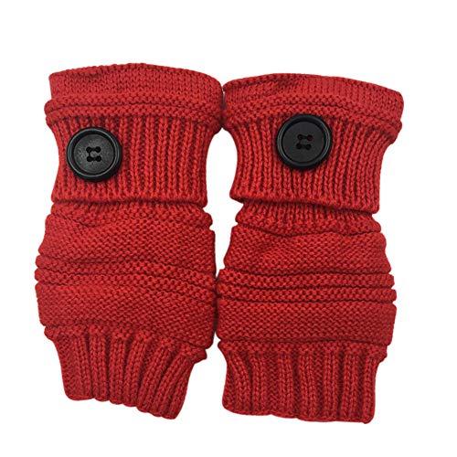 Qinlee Halb Handschuhe Gestrickte Winter Wärmer Handschuhe mit Knopf Damen Fingerlose Armstulpen Einfarbig Fäustlinge Winter Zubehör für Mädchen (Rot) -