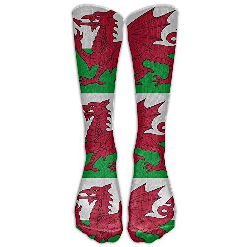 Preisvergleich Produktbild Juziwen Welsh Dragon Flag Casual Unisex Sock Knee Long High Socks Sport Athletic Crew Socks (Long 50cm