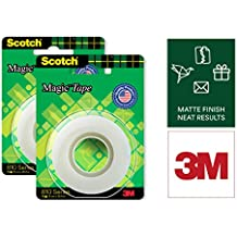 Scotch Magic Tape - The Original Matte-Finish Invisible Tape by 3M, Pack of 2 (2 Rolls, Width 1.9cm Length 25.4m)