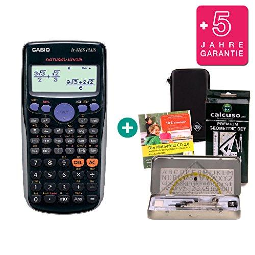 Casio Streberpaket FX-82ES Plus + Schutztasche + Lern-CD (auf Deutsch) + Geometrie-Set + Erweiterte Garantie
