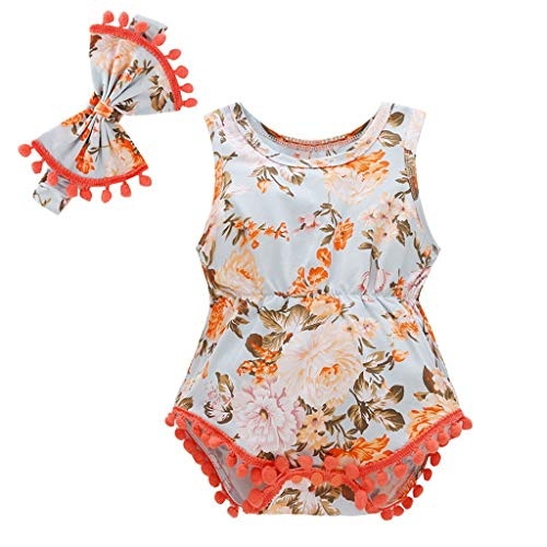 (Mitlfuny Damen Vintage Rockabilly Swing Kleider,Neugeborene Baby Girl Boy Floral Quasten Strampler Bodysuit Stirnband Outfits Set)
