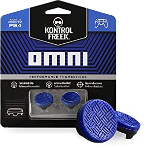 KontrolFreek Omni für PlayStation 4 (PS4) Controller | Performance Thumbsticks | 2 x Kurz Konkav | Blau