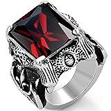 OIDEA Vintage Edelstahl Ringe, Ehering Nordischer Krieger Biker Rot Zirkon Herren Verlobungsring, Schwarz Silber - Ringgrößen 71 (22.6)