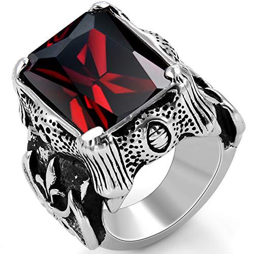 OIDEA Vintage Edelstahl Ringe, Ehering Nordischer Krieger Biker Rot Zirkon Herren Verlobungsring, Schwarz Silber - Ringgrößen 59 (18.8)