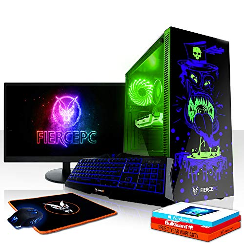 Fierce Gobbler RGB Gaming PC Bundeln - Schnell 3.5GHz Quad-Core Intel Core i5 7400, 240GB SSD, 1TB HDD, 8GB, NVIDIA GeForce RTX 2070 8GB, Win 10, Tastatur (VK/QWERTY), Maus, 21.5-Zoll-Monitor 832447